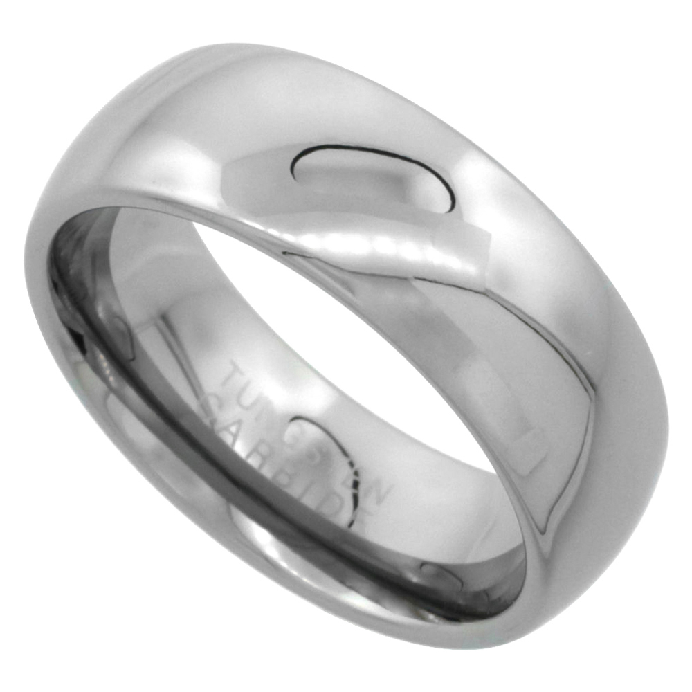 Tungsten Carbide 8 mm Comfort Fit Domed Wedding Band Ring for Him & Her Mirror Polished Finish, sizes 5 to 14