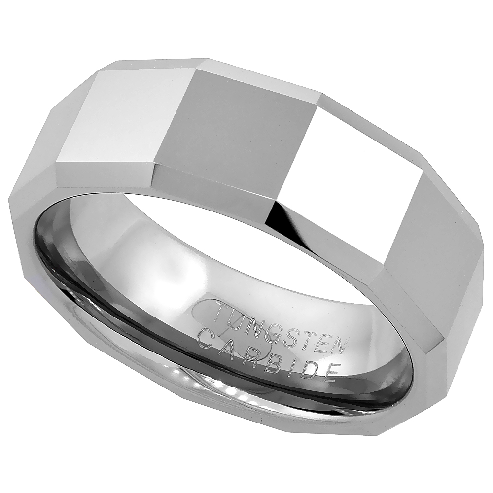 Tungsten Carbide 8 mm Faceted Flat Wedding Band Ring Large Square Patterns Beveled Edges, sizes 7 to 14