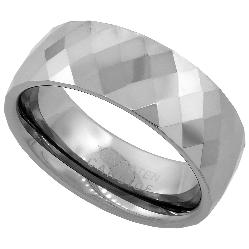 Tungsten Carbide 8 mm Faceted Dome Wedding Band Ring Diamond Pattern, sizes 7 to 14