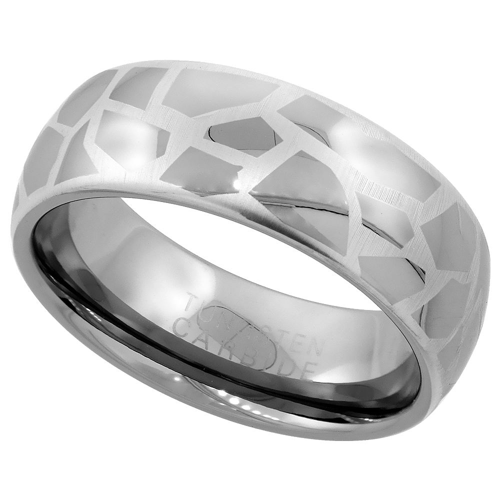 8mm Tungsten 900 Wedding Ring Domed Etched Abstract Pattern Comfort fit, sizes 7 - 14