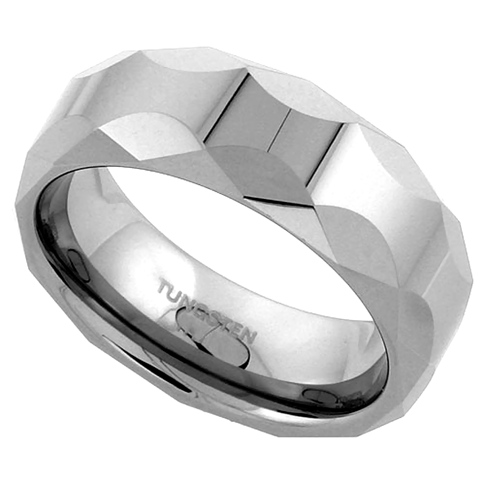 Tungsten Carbide 8 mm Faceted Dome Wedding Band Ring Circular Patterns, sizes 7 to 14