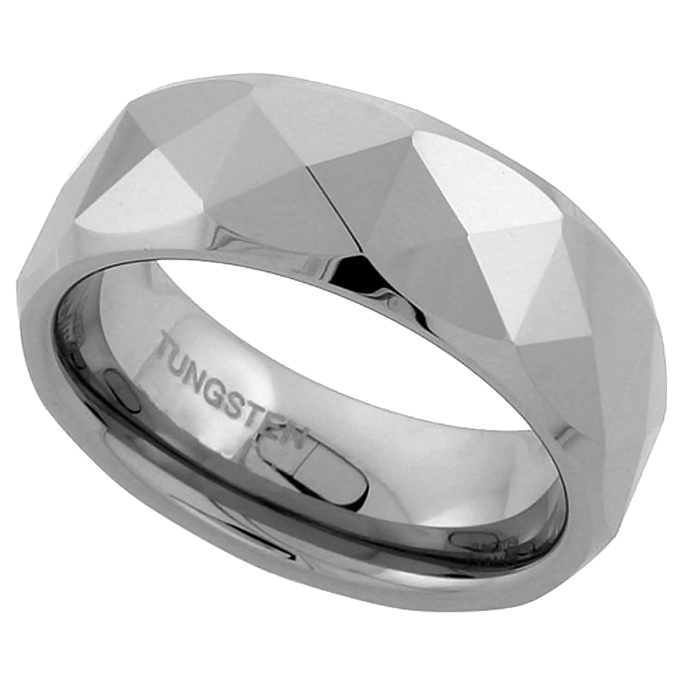 Tungsten Carbide 8 mm Faceted Dome Wedding Band Ring Pyramid Patterns, sizes 7 to 14