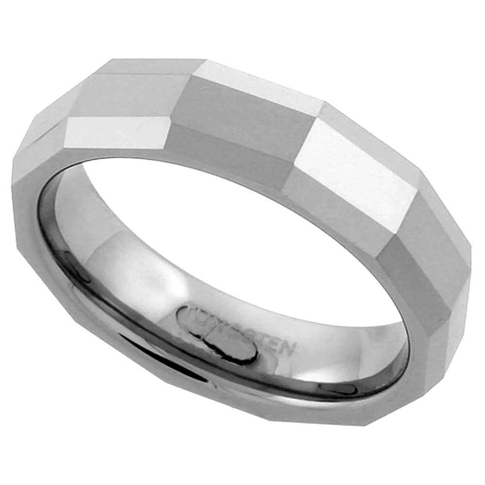 Tungsten Carbide 5.5 mm Faceted Dome Wedding Band Ring Thin Rectangular Patterns, sizes 7 to 14