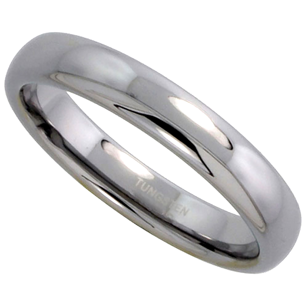Tungsten Carbide 4 mm Plain Domed Wedding Band Thumb Ring for Men and Women Polished, sizes 5 to 12