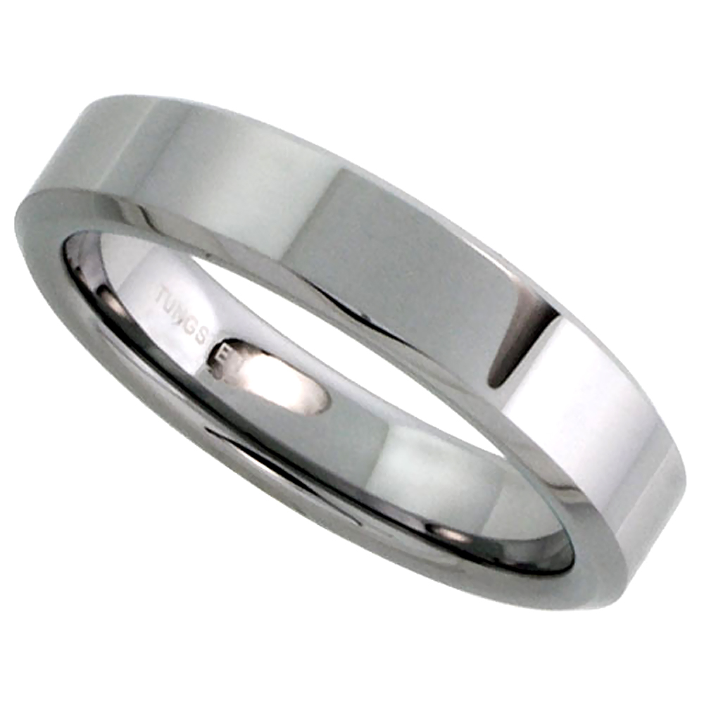 Tungsten Carbide 5 mm Flat Wedding Band Thumb Ring His & Hers Mirror Polished Finish Beveled Edges, sizes 5 to 12