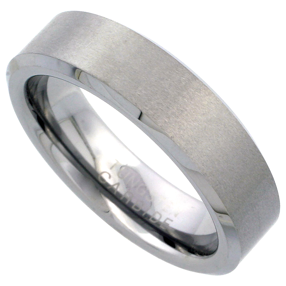 6mm Tungsten 900 Wedding Ring Beveled Edges Satin Finished Comfort fit, sizes 7 - 12