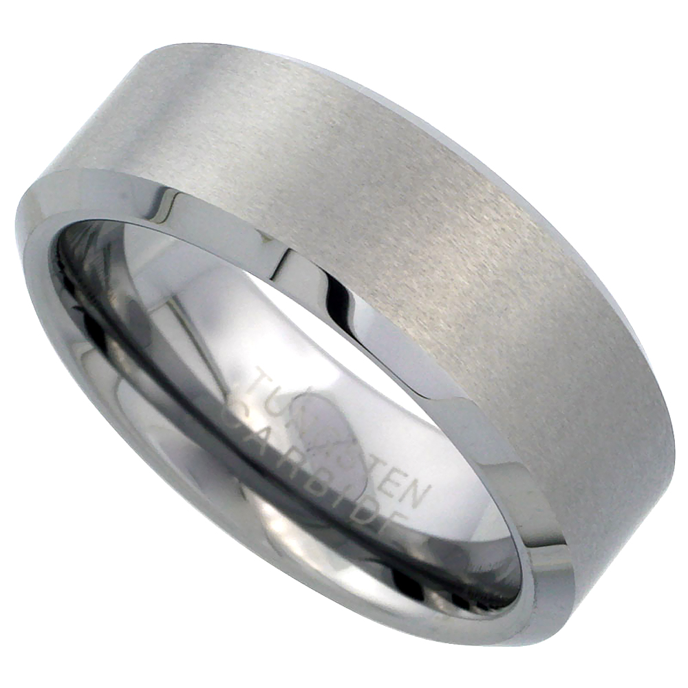 8mm Tungsten 900 Wedding Ring Beveled Edges Satin Finished Comfort fit, sizes 9 to 14