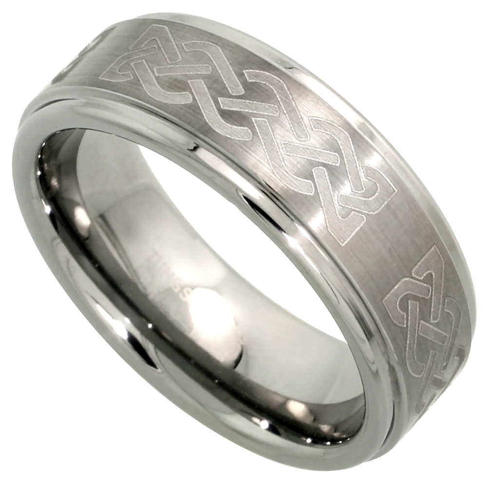 Tungsten Carbide 8 mm Flat Wedding Band Ring Etched Celtic Knot Pattern Satin Finish Recessed Edges, sizes 7 to 14