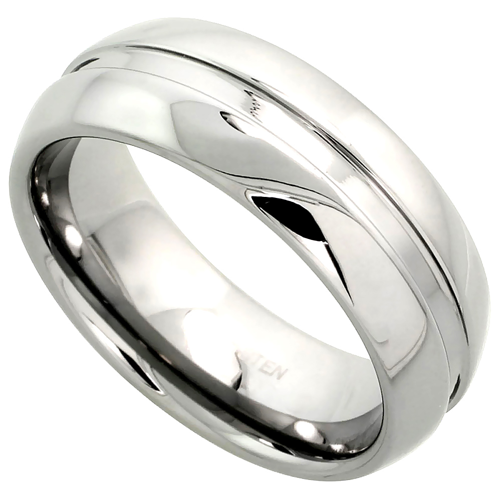 8mm Tungsten 900 Wedding Ring Dome Grooved Center Comfort fit, sizes 7 - 14