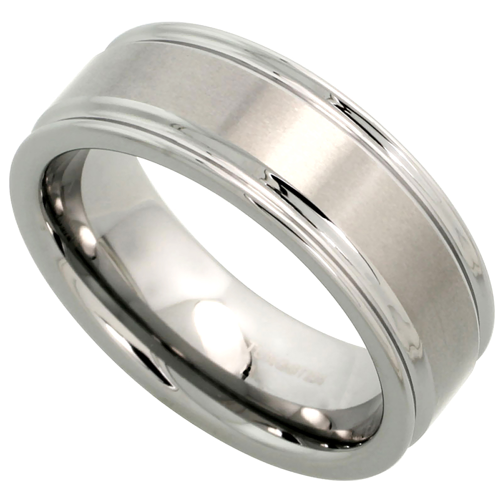 8mm Tungsten 900 Wedding Ring Deep Grooved Edges Brushed Finish Comfort fit, sizes 7 - 14