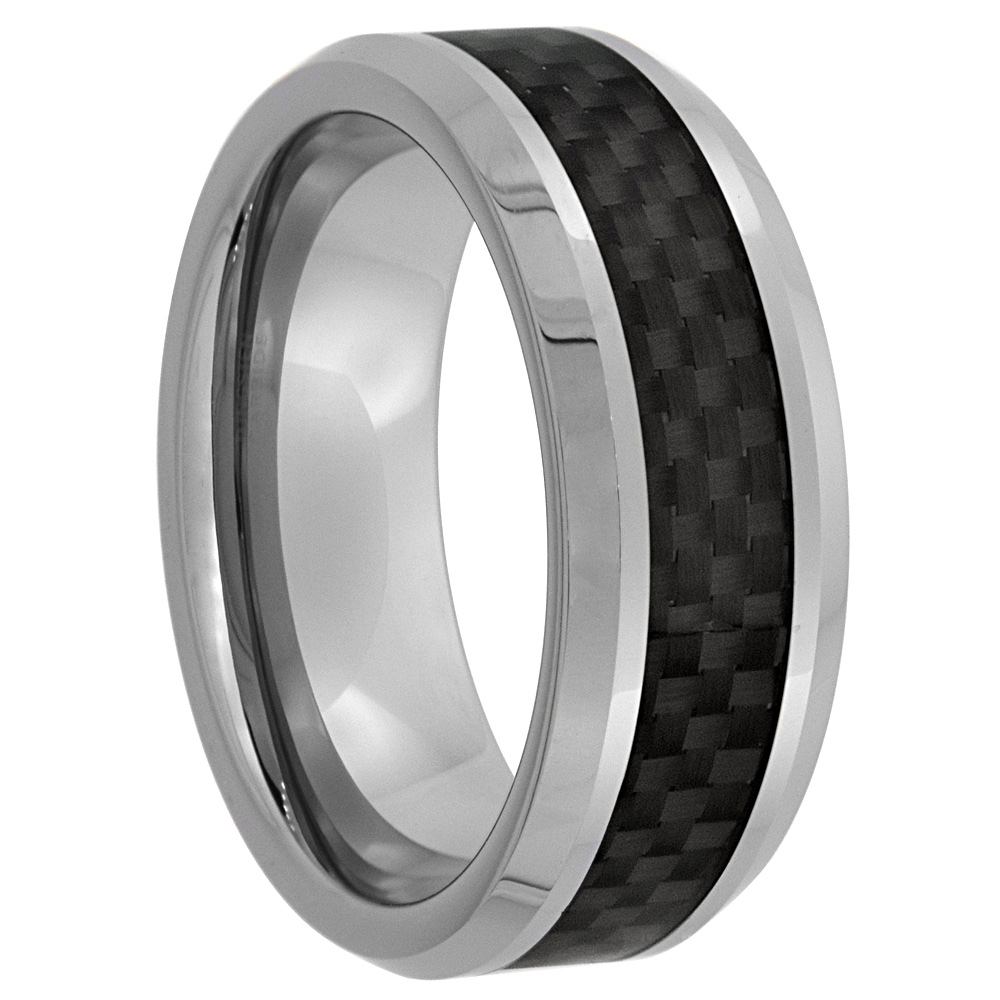 Tungsten Carbide 8 mm Flat Wedding Band Ring Black Carbon Fiber Inlay Beveled Edges, sizes 7 to 14