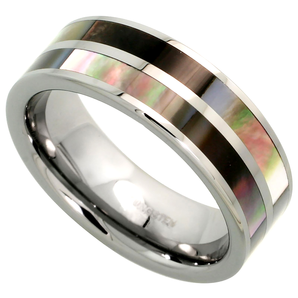 Tungsten Carbide 8 mm Flat Wedding Band Ring Inlaid Mother of Pearl Stripes, sizes 7 to 14