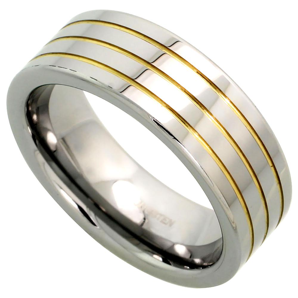 8mm Tungsten 900 Wedding Ring 3 Gold Grooves High Polish Comfort fit, sizes 7 - 14