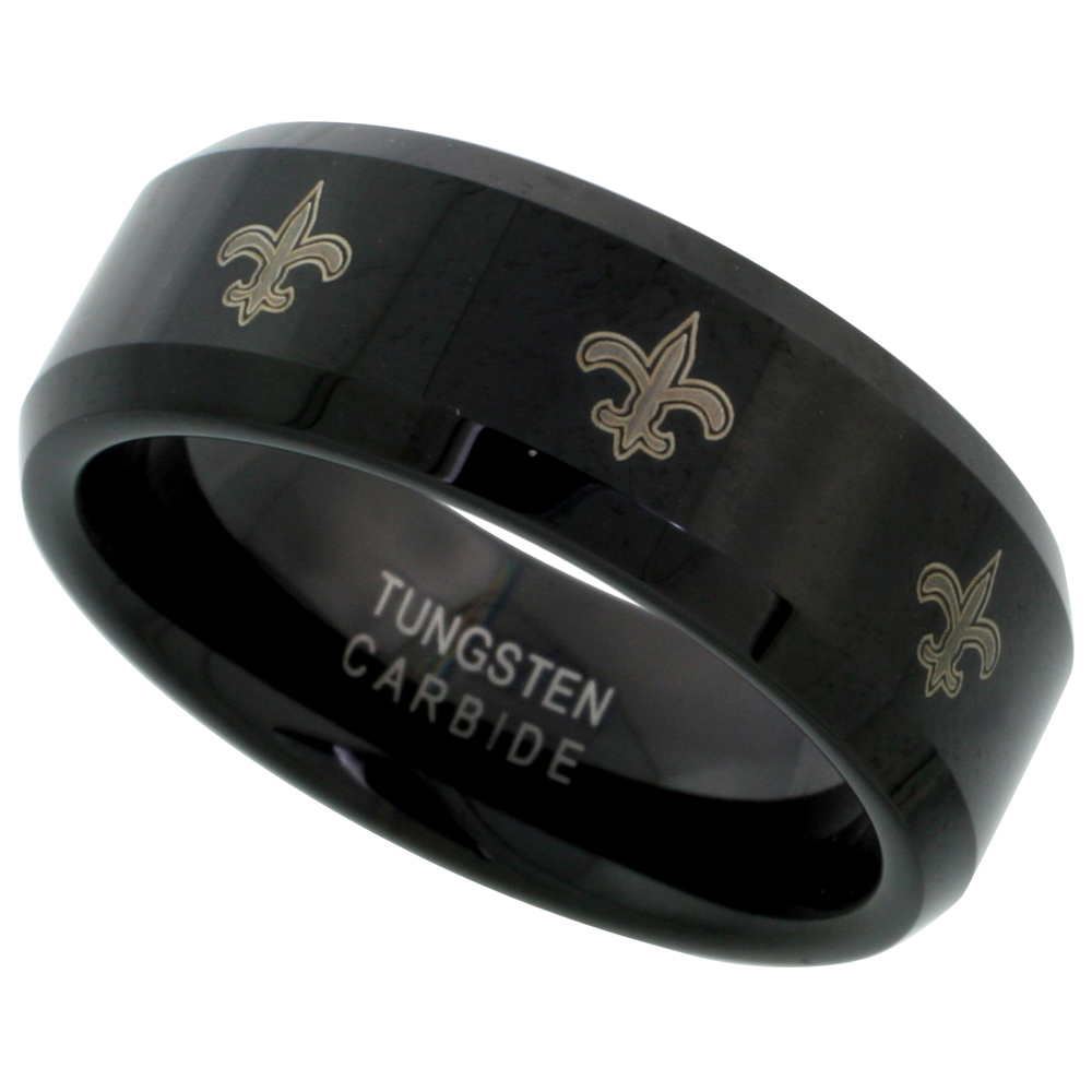 8mm Black Tungsten Wedding Ring Etched Fleur De Lis Pattern Beveled Edges Comfort fit, sizes 7 - 14