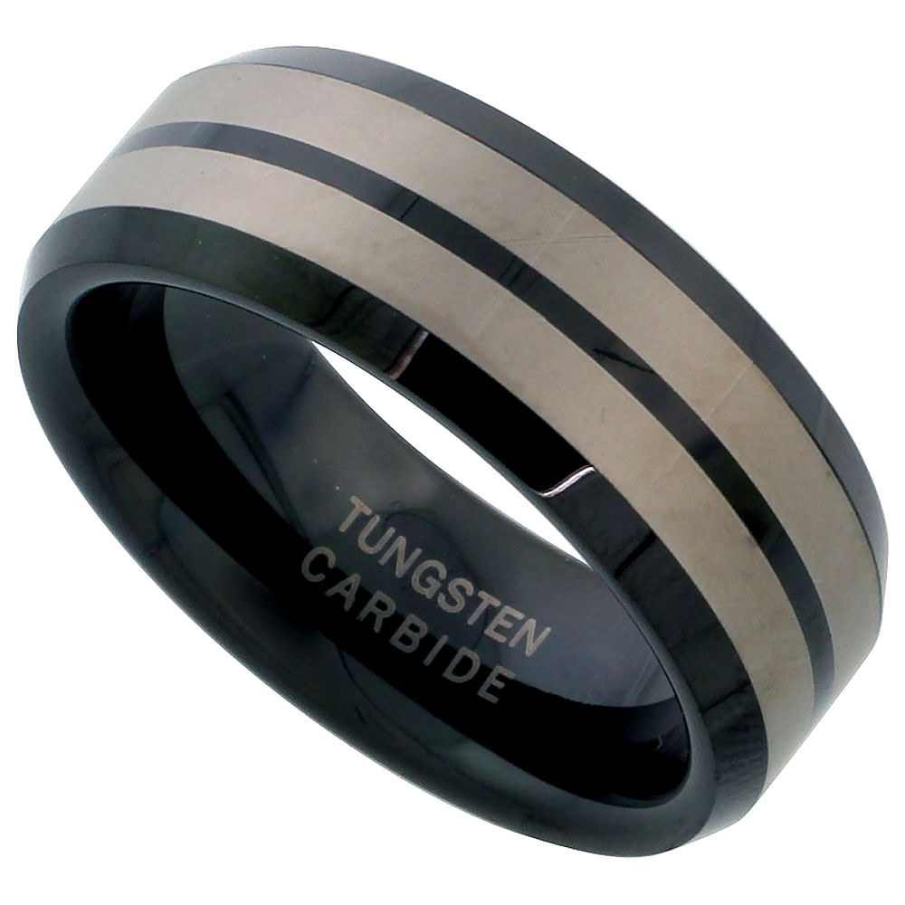 8mm Black Tungsten 900 Wedding Ring Etched Double Stripes Beveled Edges Comfort fit, sizes 7 - 14