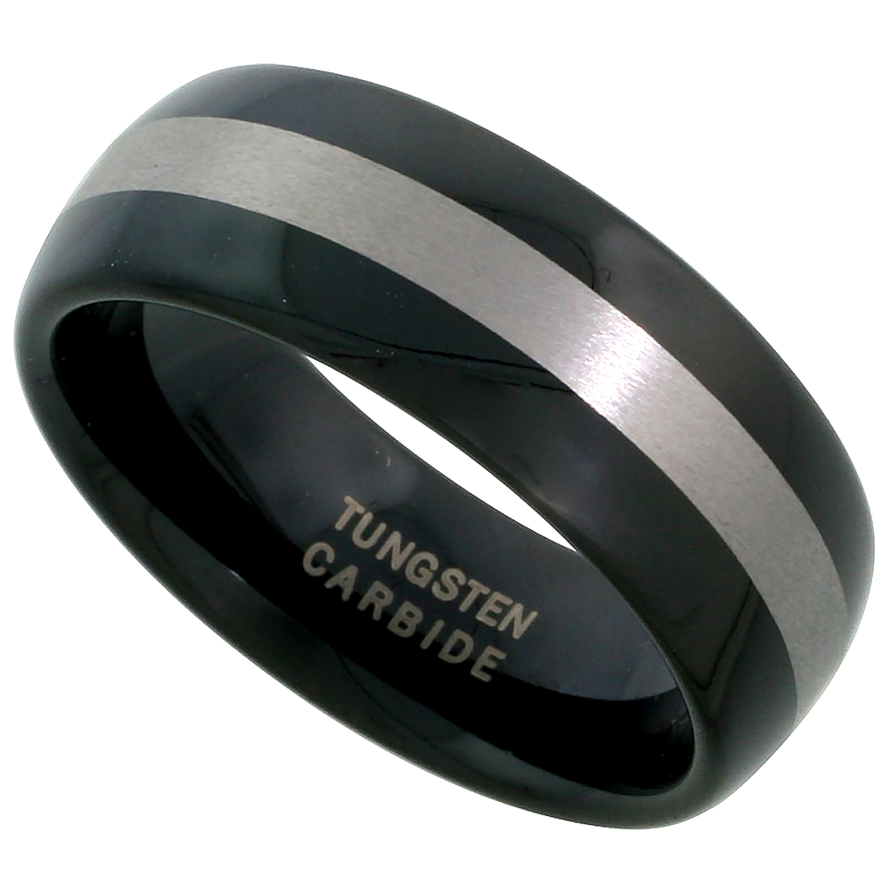 8mm Black Tungsten 900 Wedding Ring Domed Wide Etched Stripe Center Comfort fit, sizes 7 - 14