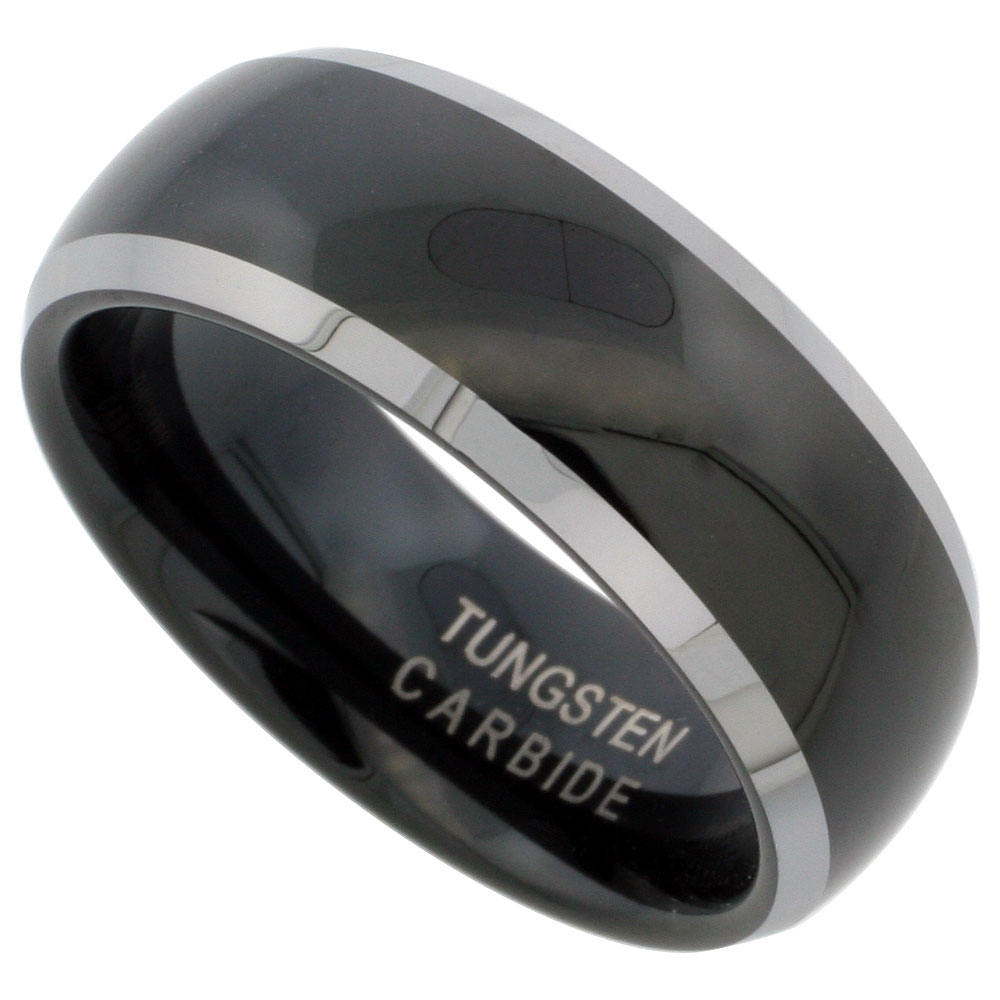 8mm Black Tungsten 900 Wedding Ring Domed Two-tone Beveled Edges Comfort fit, sizes 7 - 14