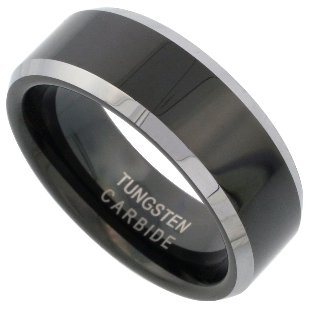 Tungsten Carbide 8 mm Flat Wedding Band Ring Two-tone Black Finish Beveled Edges, sizes 7 to 14
