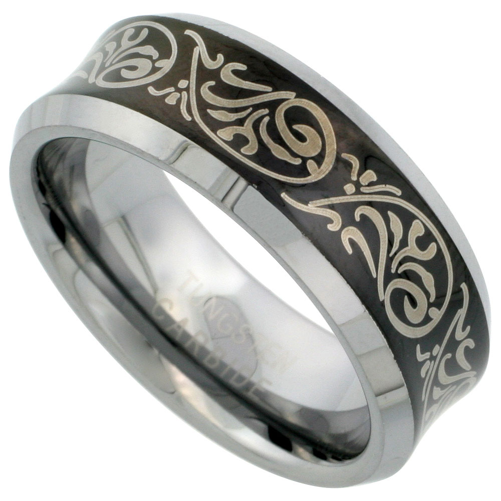 Tungsten Carbide 8 mm Concaved Wedding Band Ring Etched Tribal Pattern Blackened Finish Beveled Edges, sizes 7 to 14