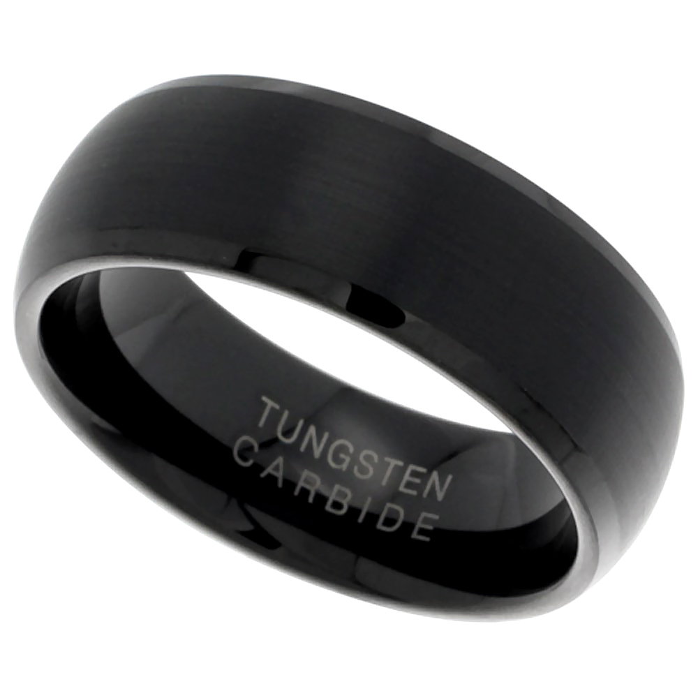 8mm Black Tungsten 900 Wedding Ring Dome Brushed Finish Beveled Edge Comfort fit, sizes 9 - 12