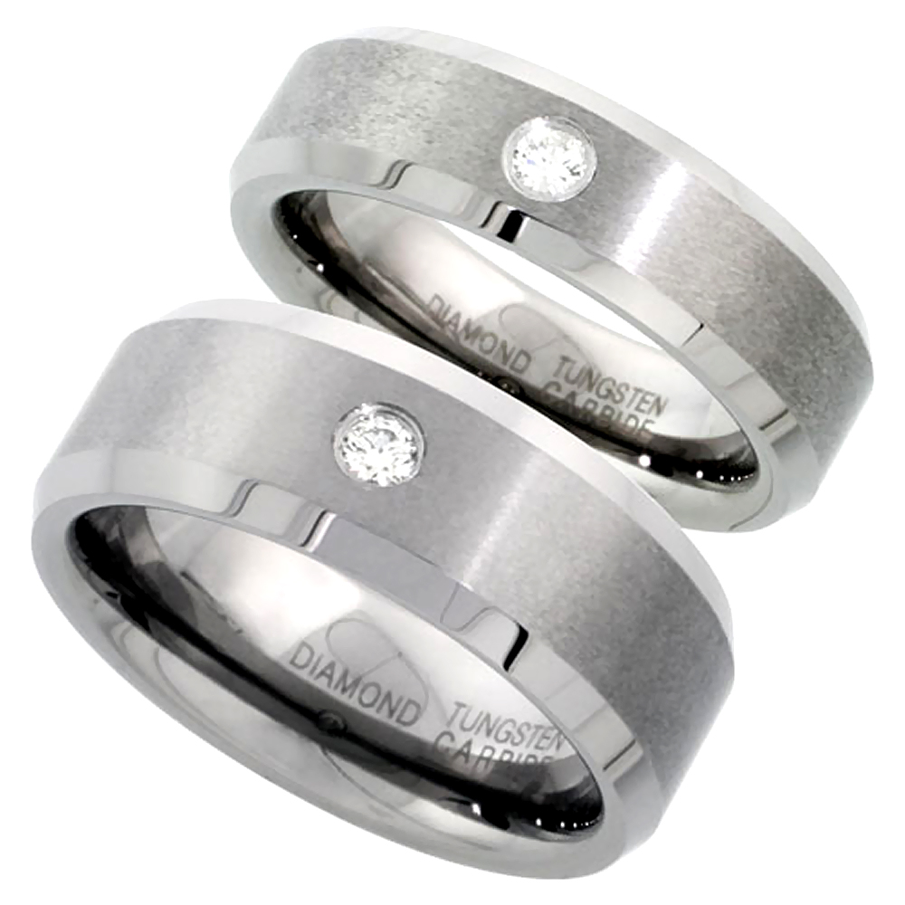 2-Ring Set 8 & 6 mm Tungsten Diamond Wedding Ring for Him & Her Matte Beveled Comfort fit, sizes 5-13