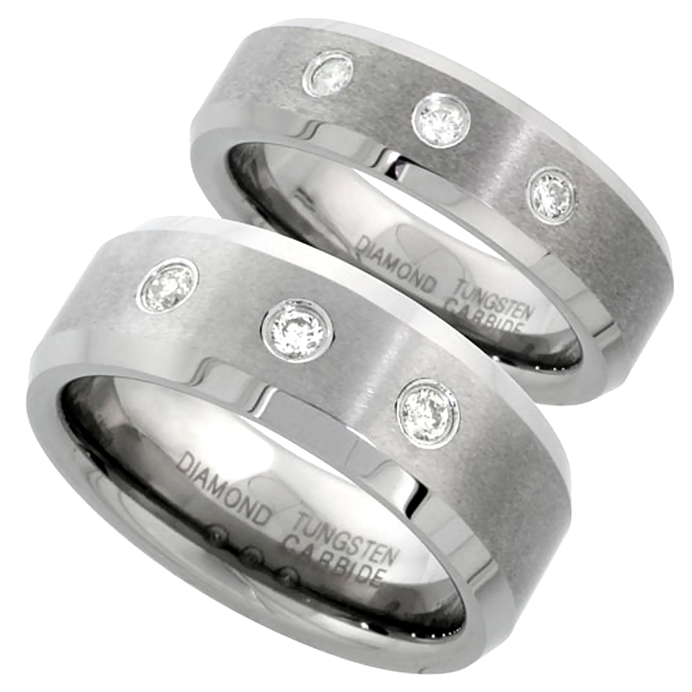 6 & 8 mm Tungsten Diamond Wedding Ring Set for Him and Her 3 stone Matte Beveled Comfort fitsizes 5-13