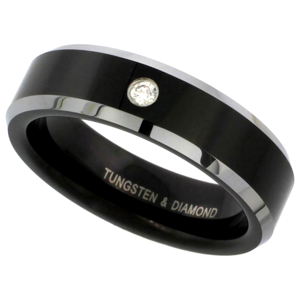 6mm Black Tungsten Diamond Wedding Ring for Him & Her Two-tone Beveled Edges Comfort fit, sizes 5 to 9