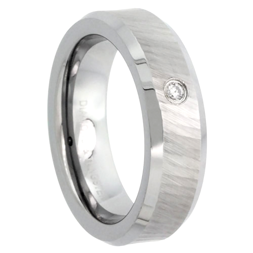 6mm Tungsten Diamond Wedding Ring for Him & Her Dazzling Cut Finish Beveled Comfort fit, sizes 4 to 9.5