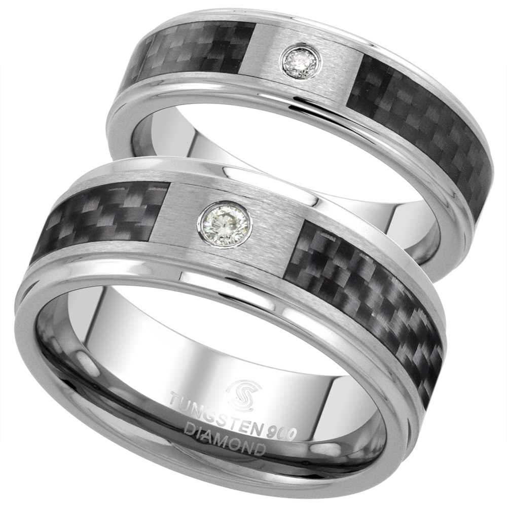 2-Ring Set 6 & 8mm Tungsten Diamond Wedding Ring Him & Her Blue Carbon Fiber Beveled Comfort fit, sizes 5-13