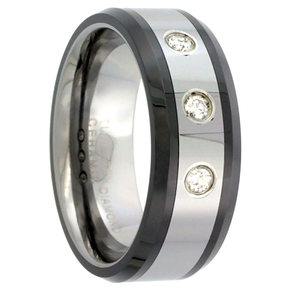 8mm Tungsten 3 Stone Diamond Wedding Ring Beveled Black Ceramic Inlay Edges Comfort fit, sizes 8 to 13