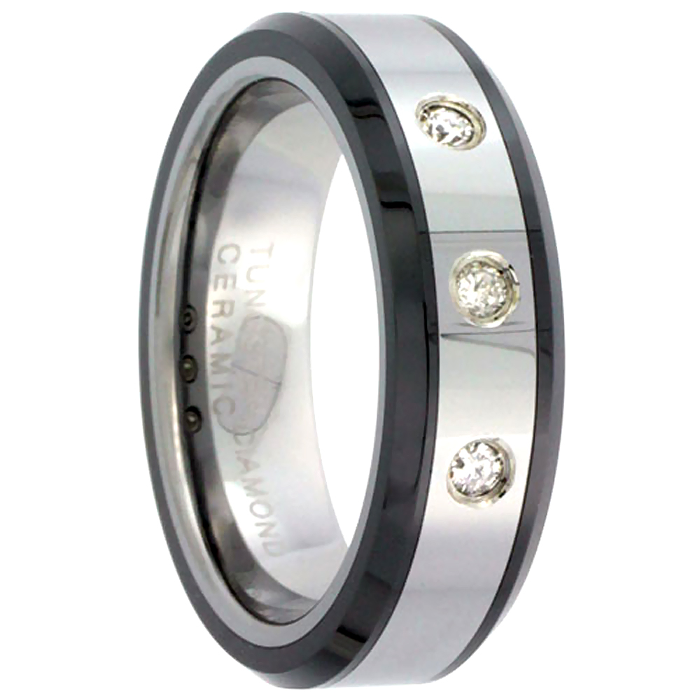 6mm Tungsten 3 Stone Diamond Wedding Ring for Him & Her Beveled Black Ceramic Edges Comfort fit, sizes 5 to 9.5