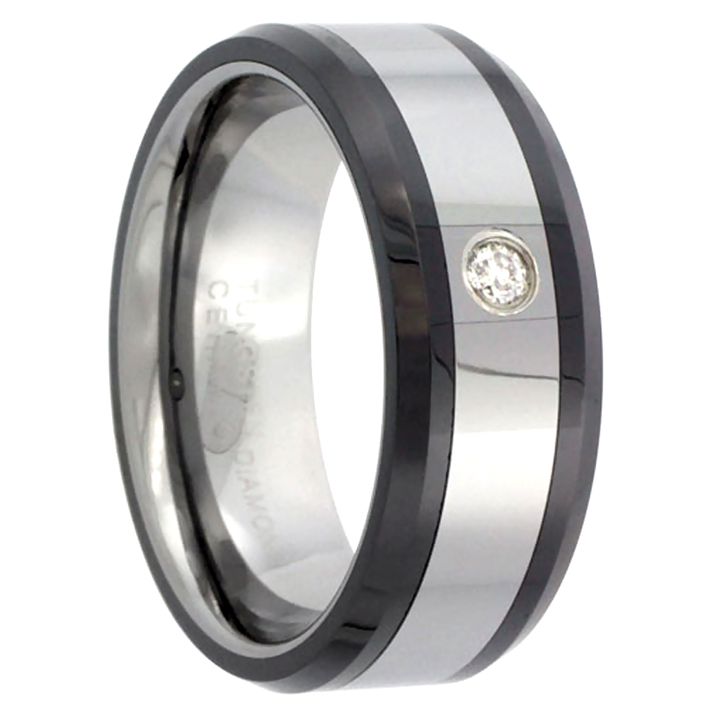 8mm Tungsten Diamond Wedding Ring Beveled Black Ceramic Inlay Edges Comfort fit, sizes 8 to 13