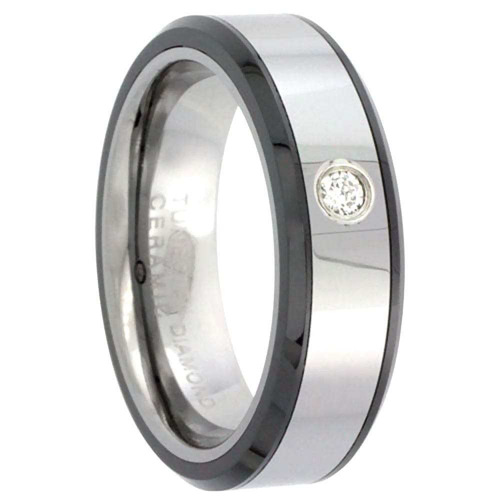 6mm Tungsten Diamond Wedding Ring for Him & Her Beveled Black Ceramic Edges Comfort fit, sizes 4 to 9.5