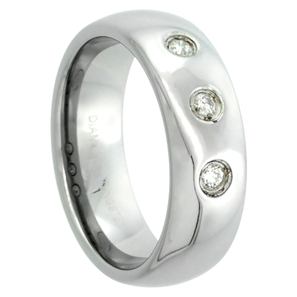 7mm Tungsten 900 Diamond Wedding Ring Domed 3 Stone 0.14 cttw Polished Finish Comfort fit, sizes 8 to 13