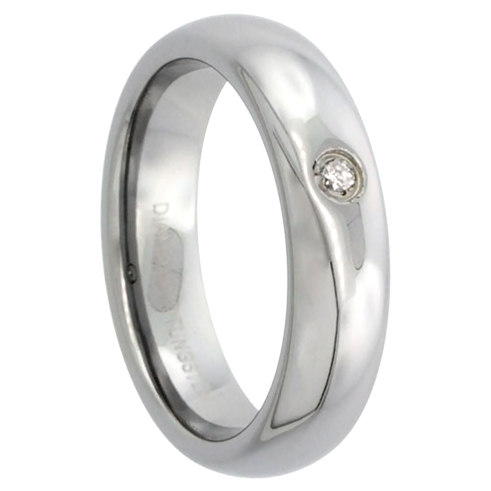 5mm Tungsten 900 Diamond Wedding Ring for him and her Domed Polished Finish Comfort fit, sizes 4 to 9.5