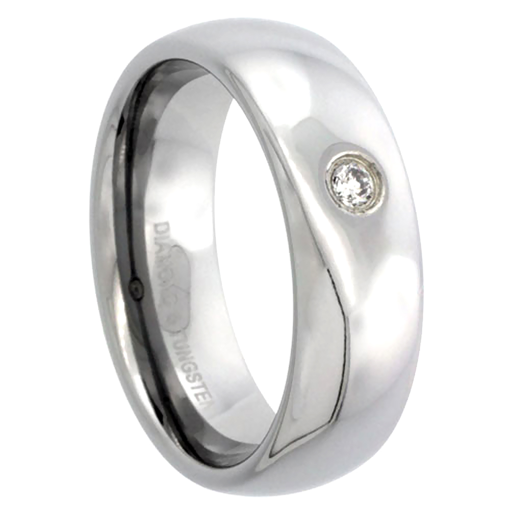 7mm Tungsten Diamond Wedding Ring Domed Polished Finish for him and her Comfort fit, sizes 8 to 13