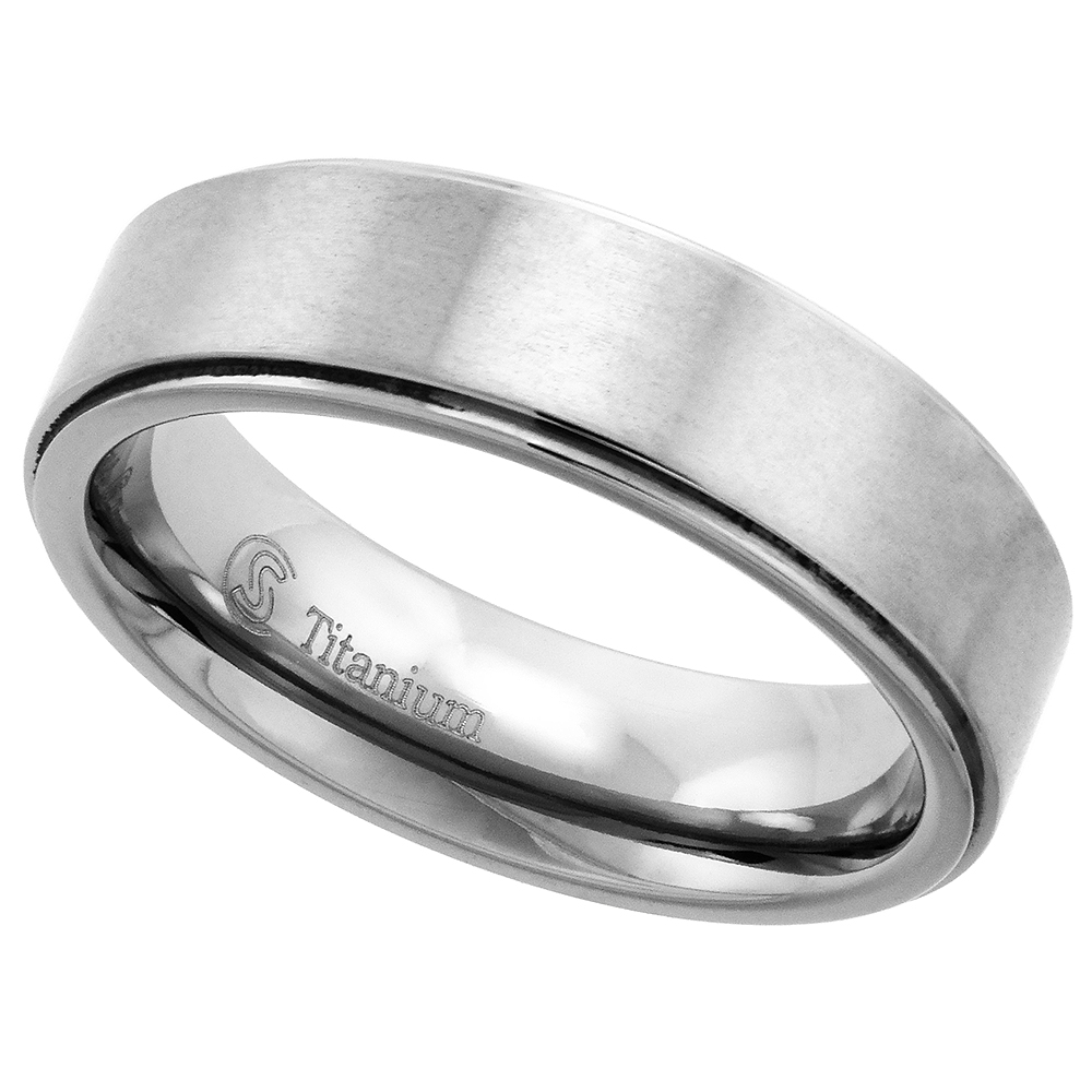 6mm Titanium Wedding Band Ring Beveled Edges Brushed Finish Flat Comfort Fit, sizes 7 - 14