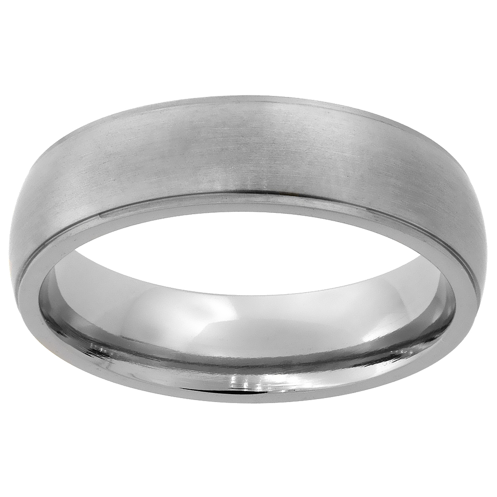 6mm Titanium Wedding Band Ring Brushed Finish Recessed Edges Domed Comfort Fit, sizes 7 - 14