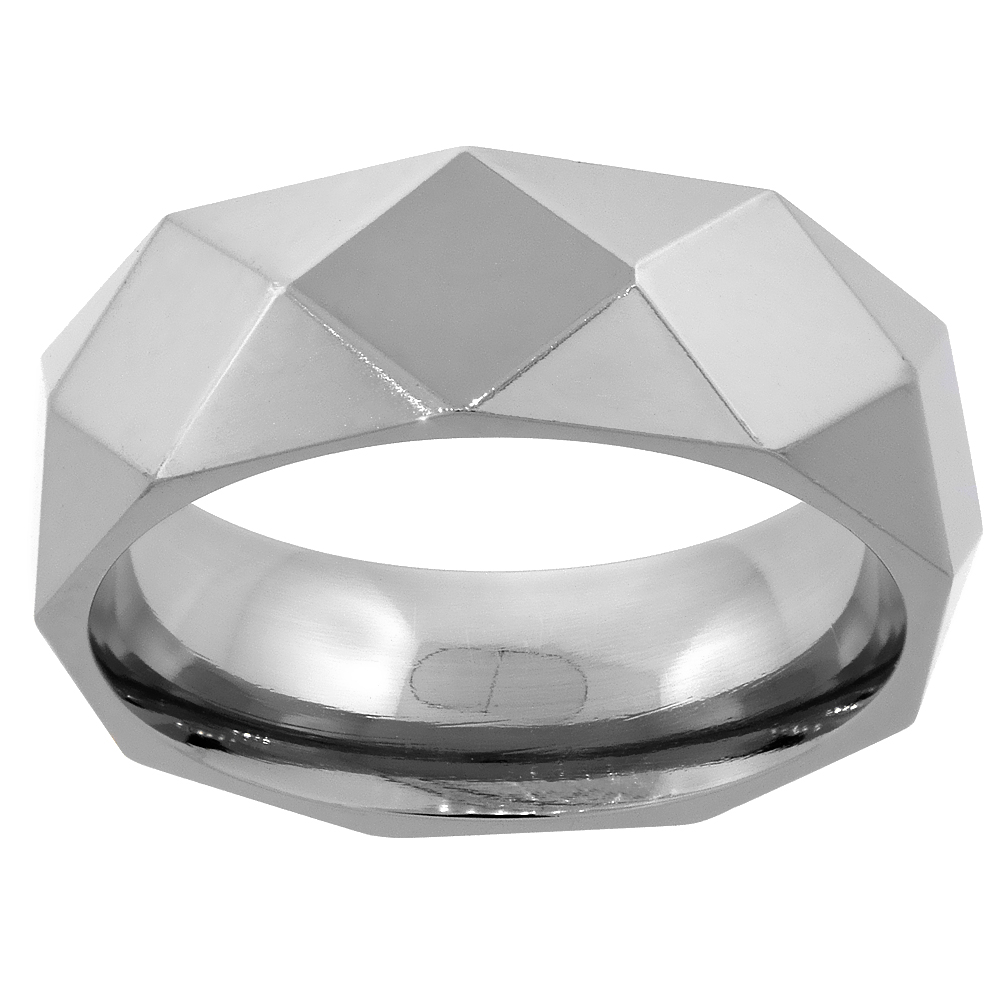 Titanium Faceted Wedding Band Ring 8mm Polished Comfort Fit, sizes 7 - 14