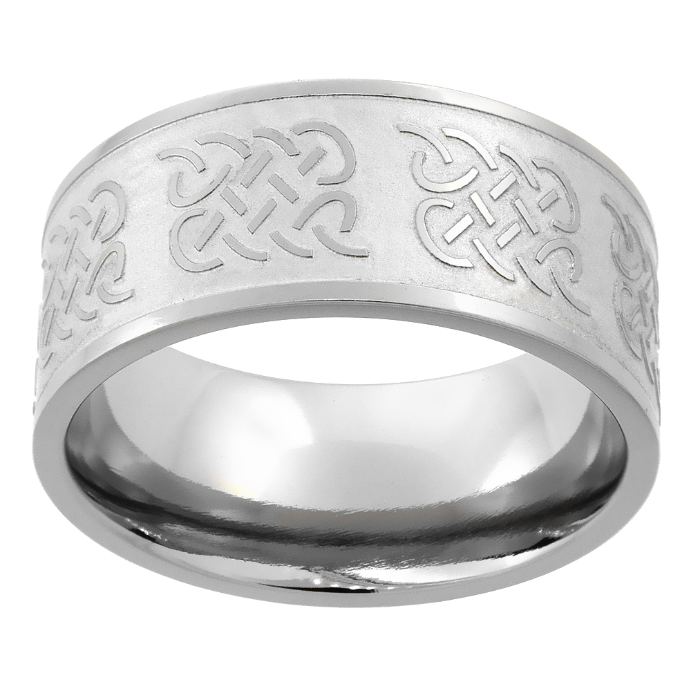 10mm Titanium Wedding Band Celtic Knot Ring Flat Comfort Fit, sizes 7 - 14