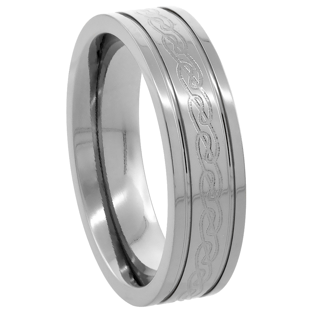 6mm Titanium Wedding Band Etched Celtic Knot Ring Flat Grooved Edges Comfort Fit, sizes 7 to14