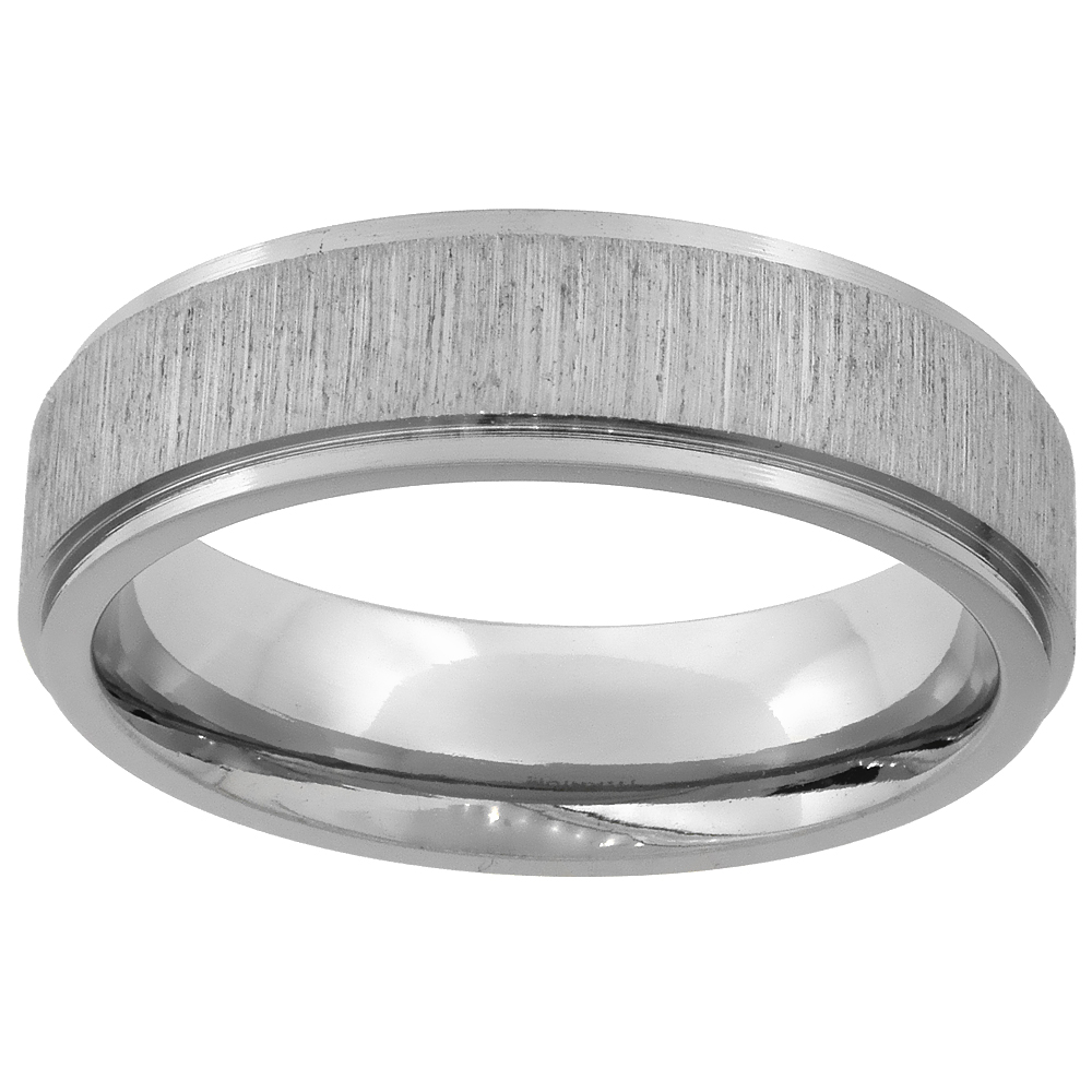 6mm Titanium Wedding Band Ring Brushed center Recessed Edges Flat Comfort Fit, sizes 7 - 14