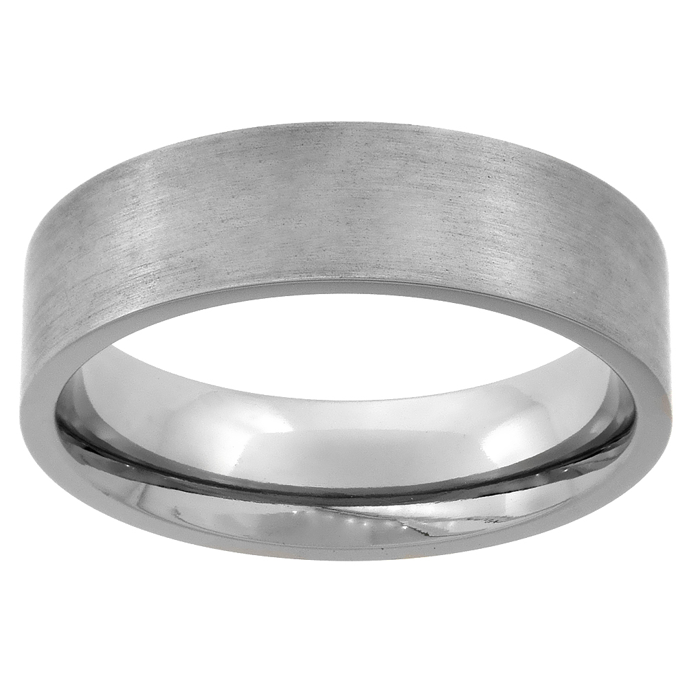 6mm Titanium Wedding Band Ring Square Edges Brushed Finish Flat Comfort Fit, sizes 7 - 14