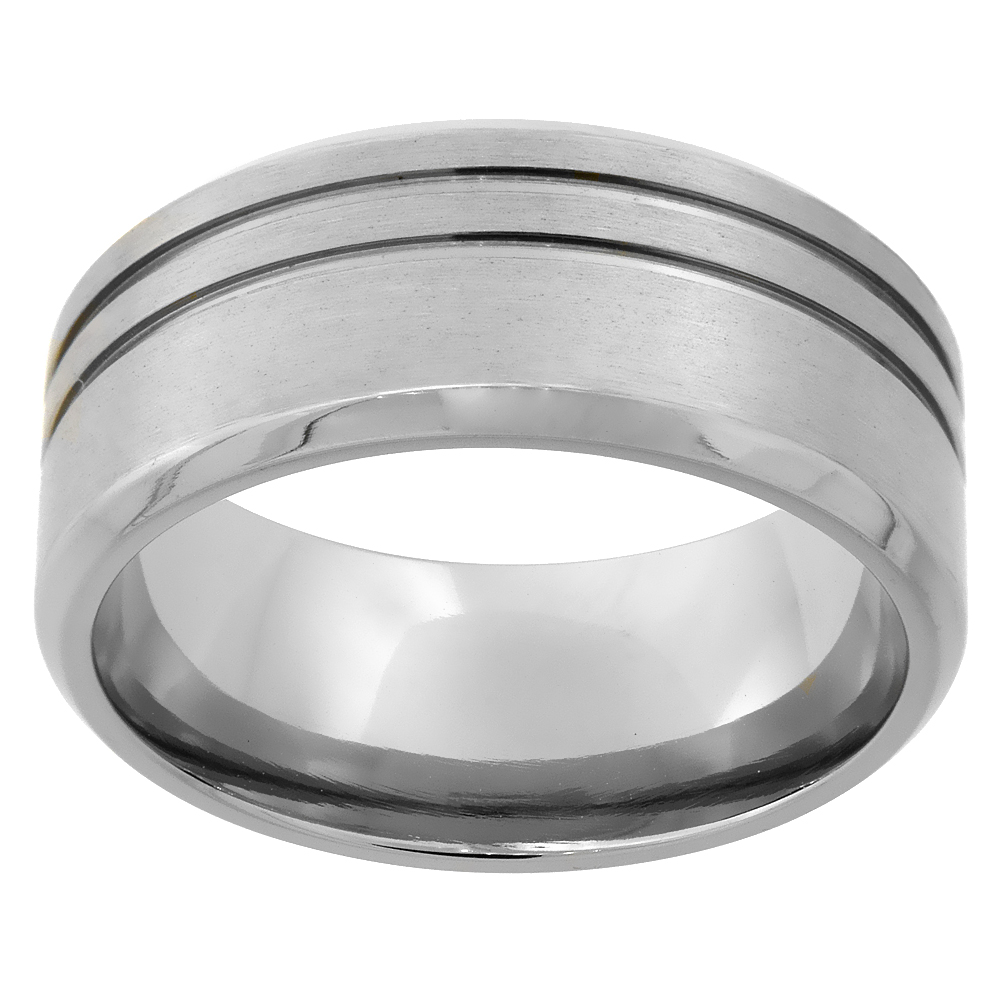 9mm Titanium Wedding Band Ring 2 Stripes Beveled Edges Brushed Finish Flat Comfort Fit, sizes 7 - 14