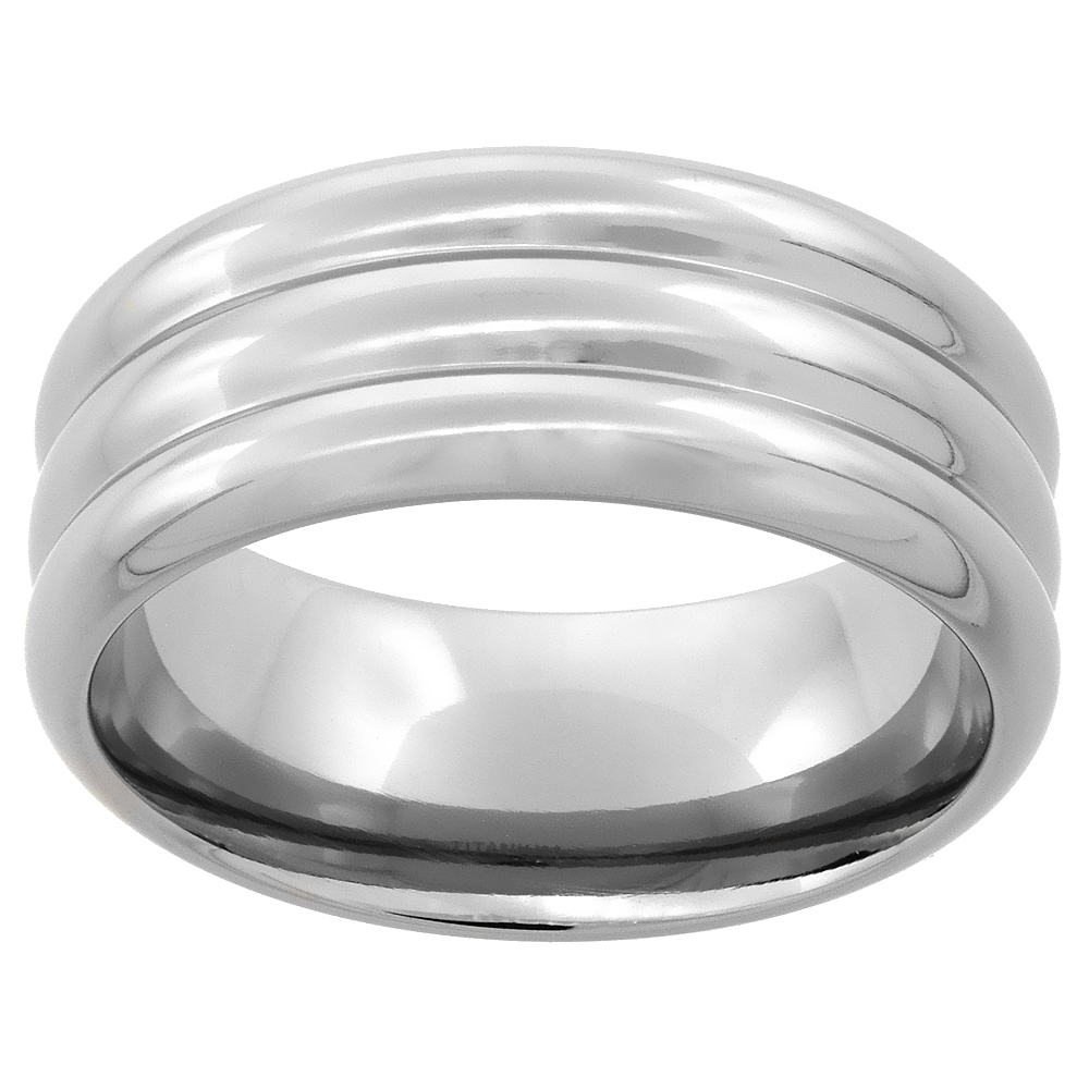 9mm Titanium Wedding Band Ring 3 Dome Pattern Domed polished Finish Comfort Fit, sizes 7 - 14