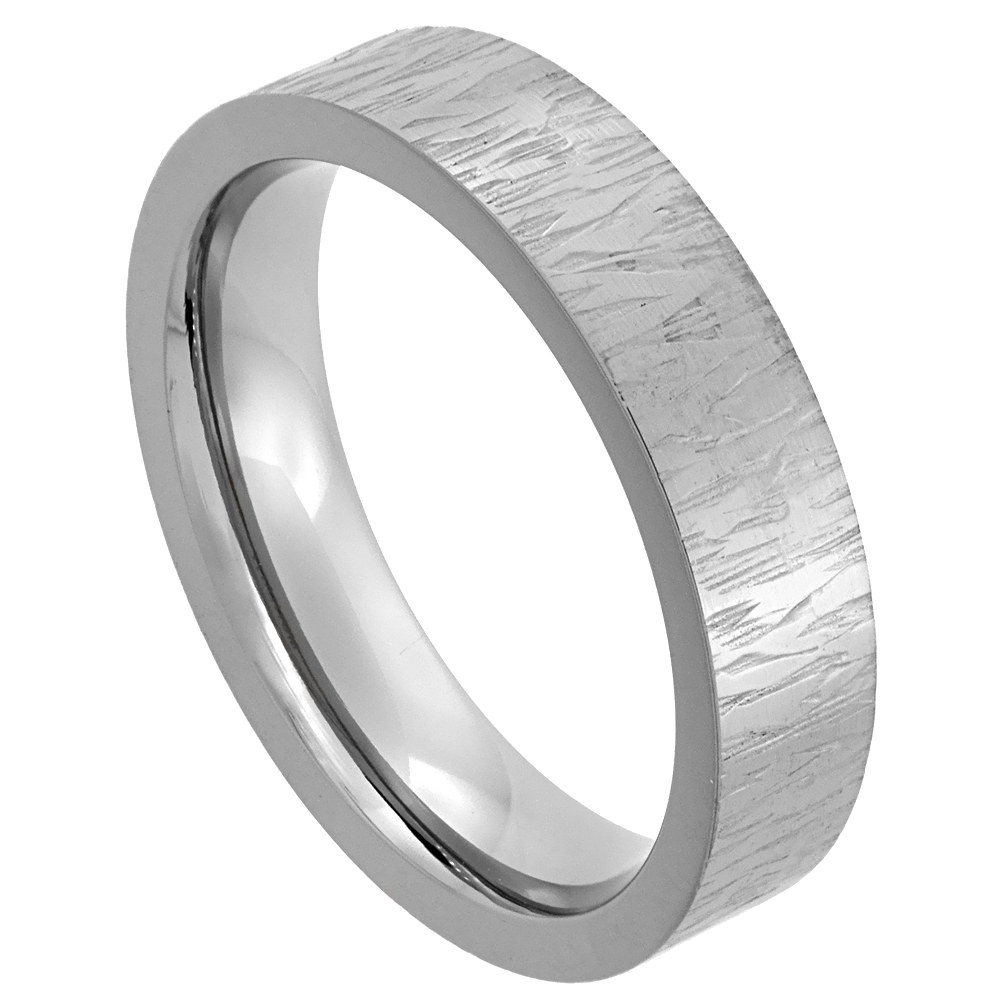 Titanium 5mm Wedding Band Ring Rain Pattern Finish Flat Comfort Fit, sizes 7 - 14