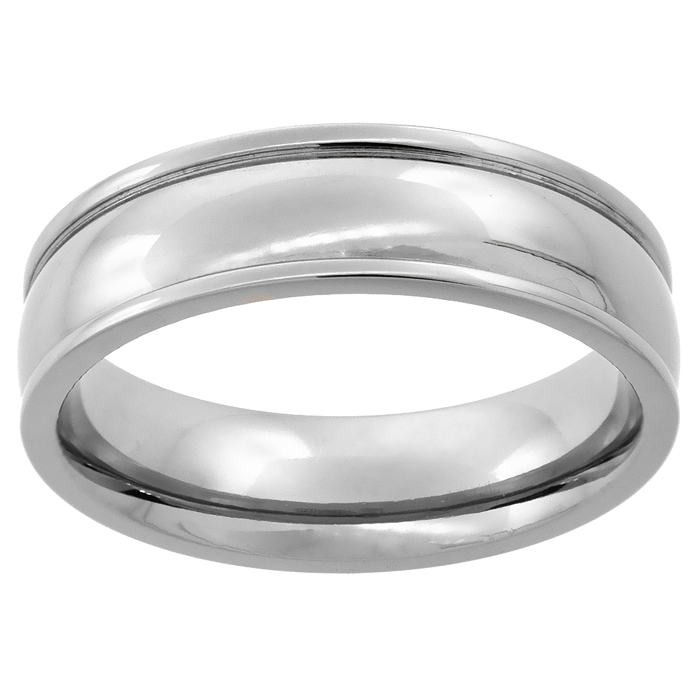 6mm Titanium Wedding Band Ring Raised Edges Domed Comfort Fit, sizes 7 - 14
