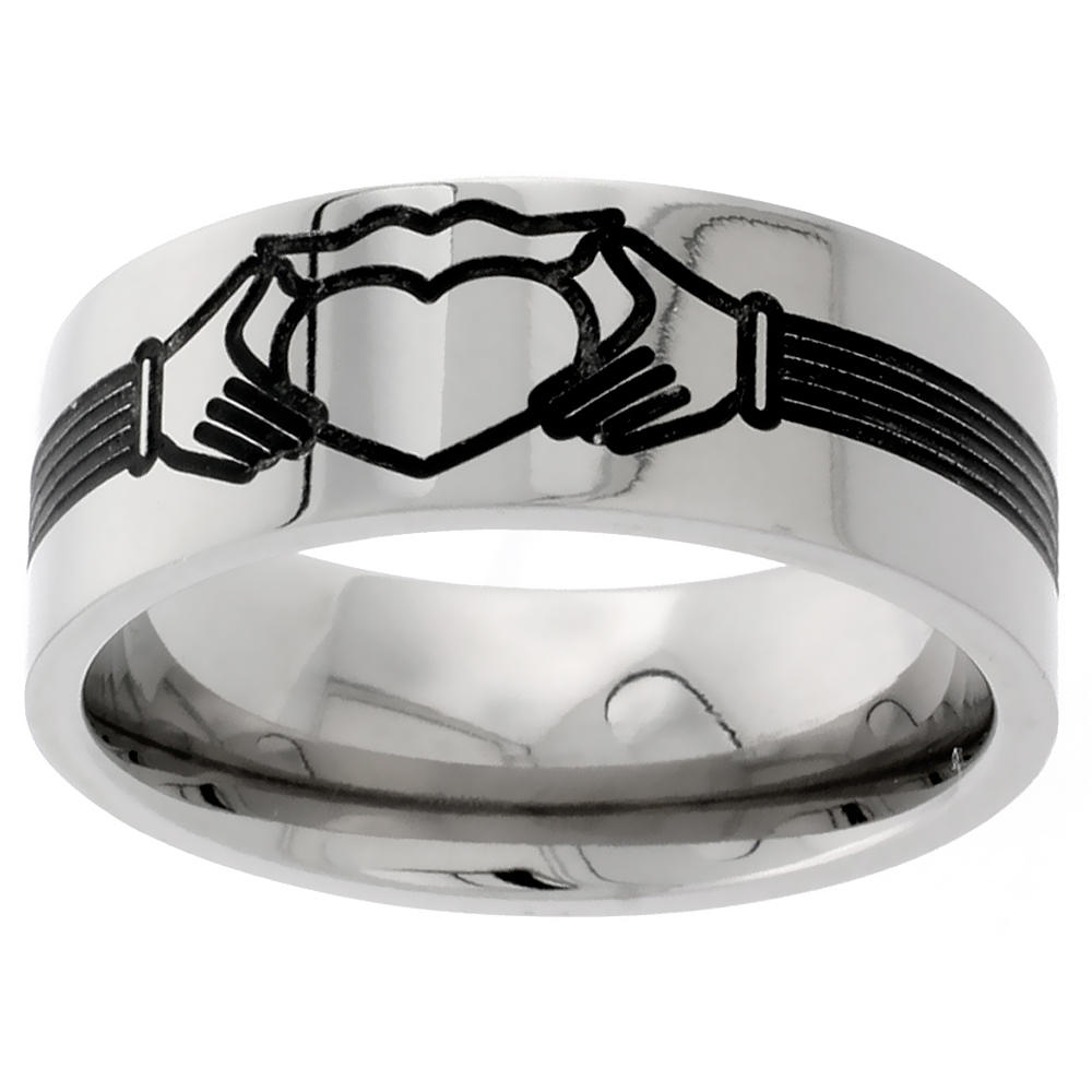 9mm Titanium Wedding Band Claddagh Ring Flat Comfort Fit, sizes 7 - 14