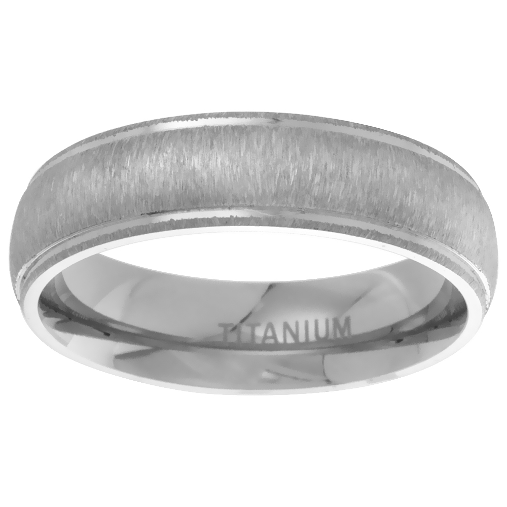 6mm Titanium Wedding Band Ring Brushed Center Raised Edges Domed Comfort Fit, sizes 7 - 14