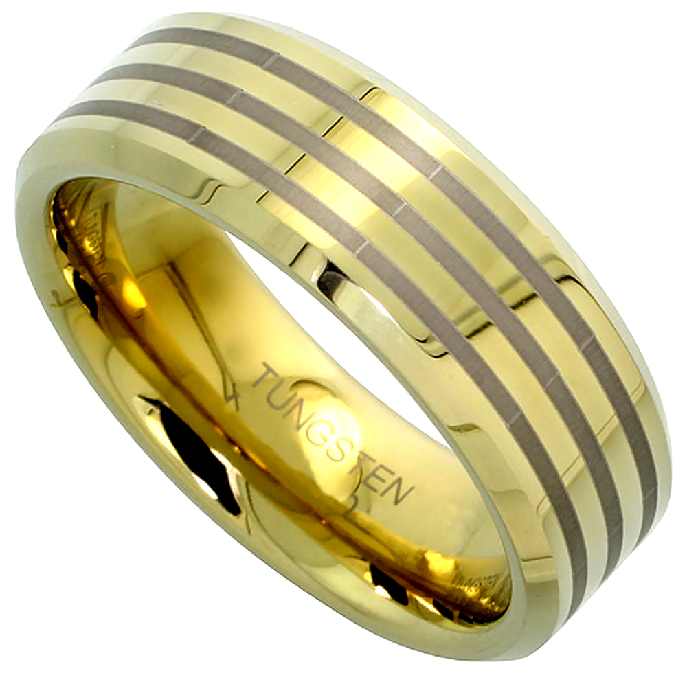 8mm Gold Tungsten Ring Flat Wedding Band 3 Etched Stripes Beveled Edge Comfort fit, sizes 5 to 14